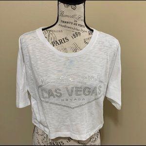 White With Rhinestones Lace Las Vegas Crop Top